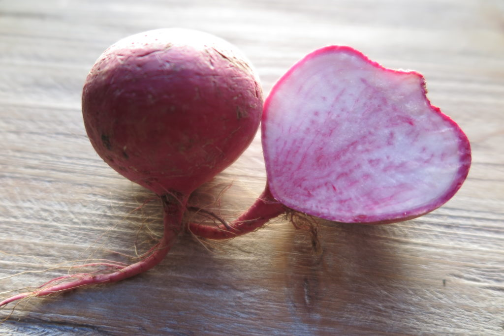 scarlet turnip cut in half