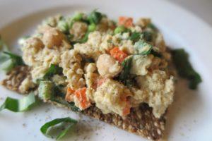 A plate of mock tuna salad on seedy toast